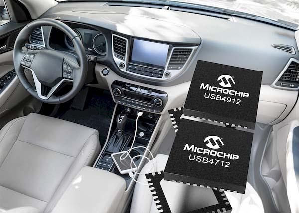 Microchip представи серия интелигентни еднопортови USB хъб-контролери за автомобилостроенето
